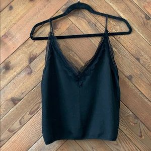 Zara Knit Lace Embroidered Black Cami